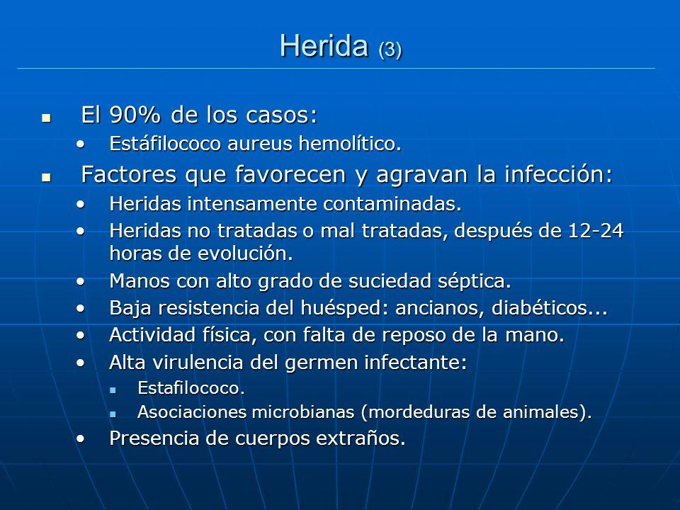 Herida (3) El 90% de los casos: