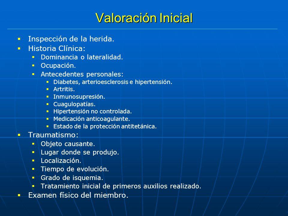 Valoración Inicial Inspección de la herida. Historia Clínica: