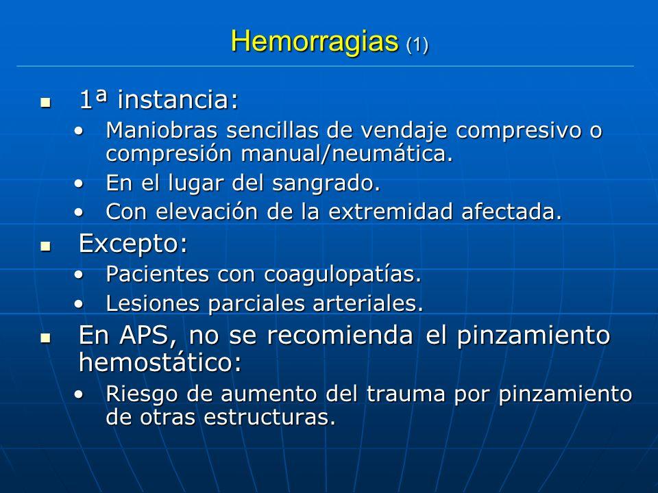 Hemorragias (1) 1ª instancia: Excepto: