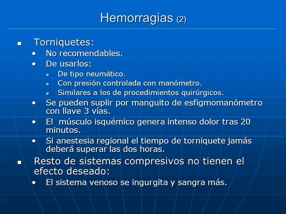 Hemorragias (2) Torniquetes: