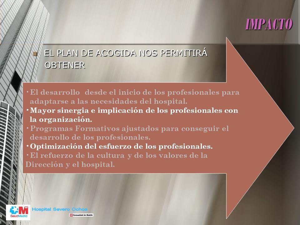 IMPACTO Hospital Severo Ochoa EL PLAN DE ACOGIDA NOS PERMITIRÁ OBTENER