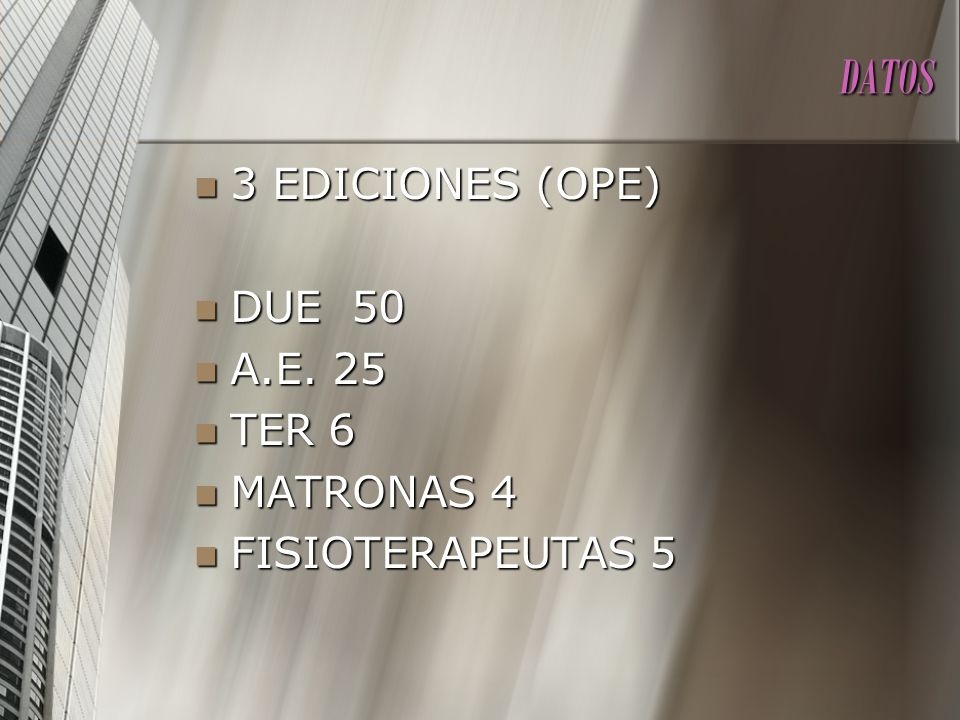 DATOS 3 EDICIONES (OPE) DUE 50 A.E. 25 TER 6 MATRONAS 4