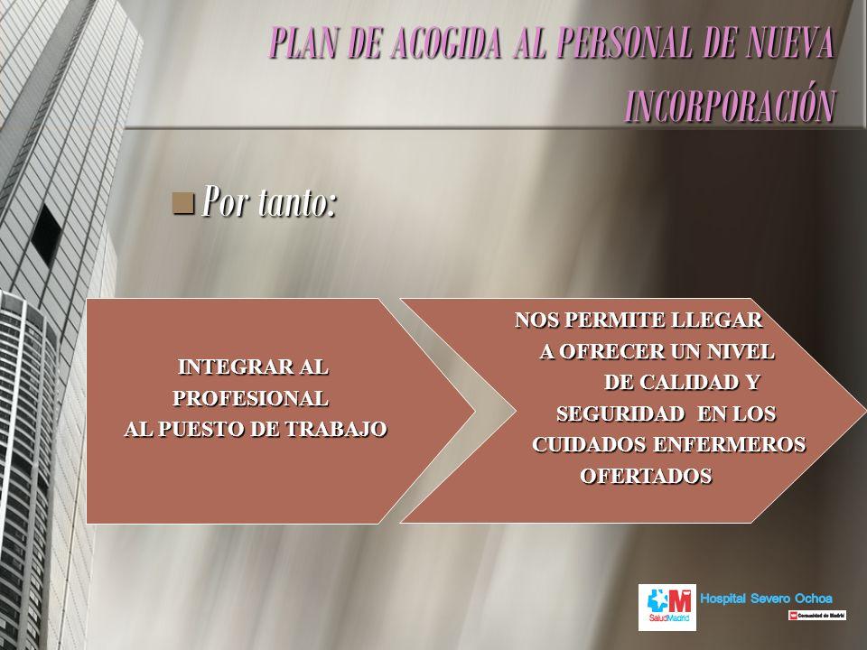 PLAN DE ACOGIDA AL PERSONAL DE NUEVA INCORPORACIÓN