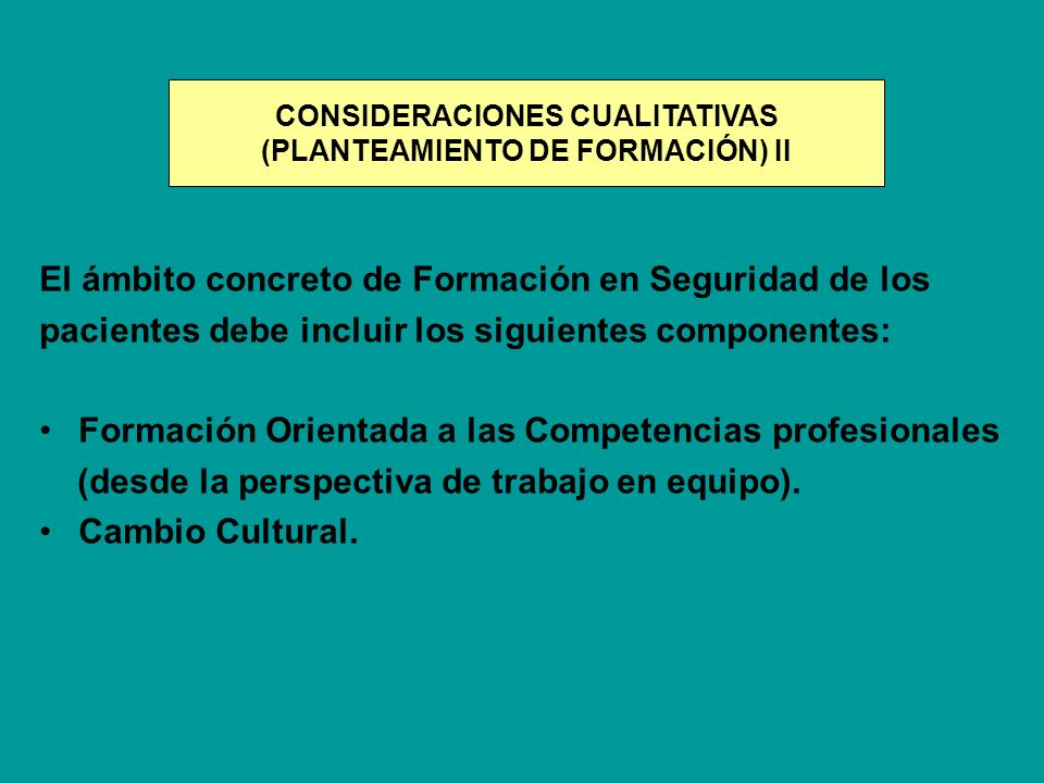 CONSIDERACIONES CUALITATIVAS (PLANTEAMIENTO DE FORMACIÓN) II