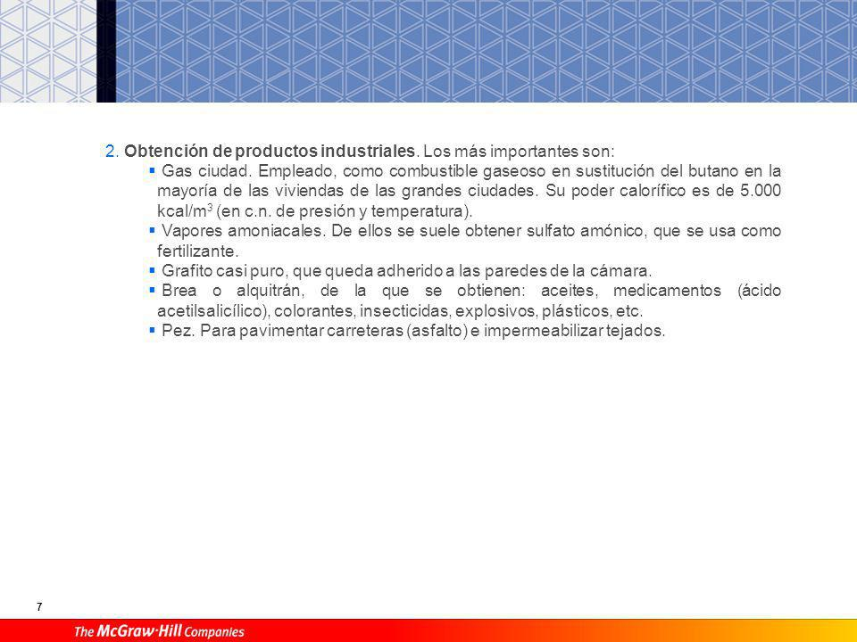2. Obtención de productos industriales. Los más importantes son: