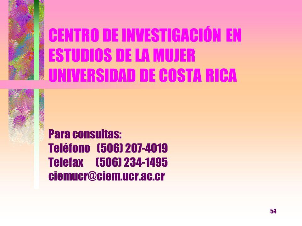 CENTRO DE INVESTIGACIÓN EN ESTUDIOS DE LA MUJER UNIVERSIDAD DE COSTA RICA