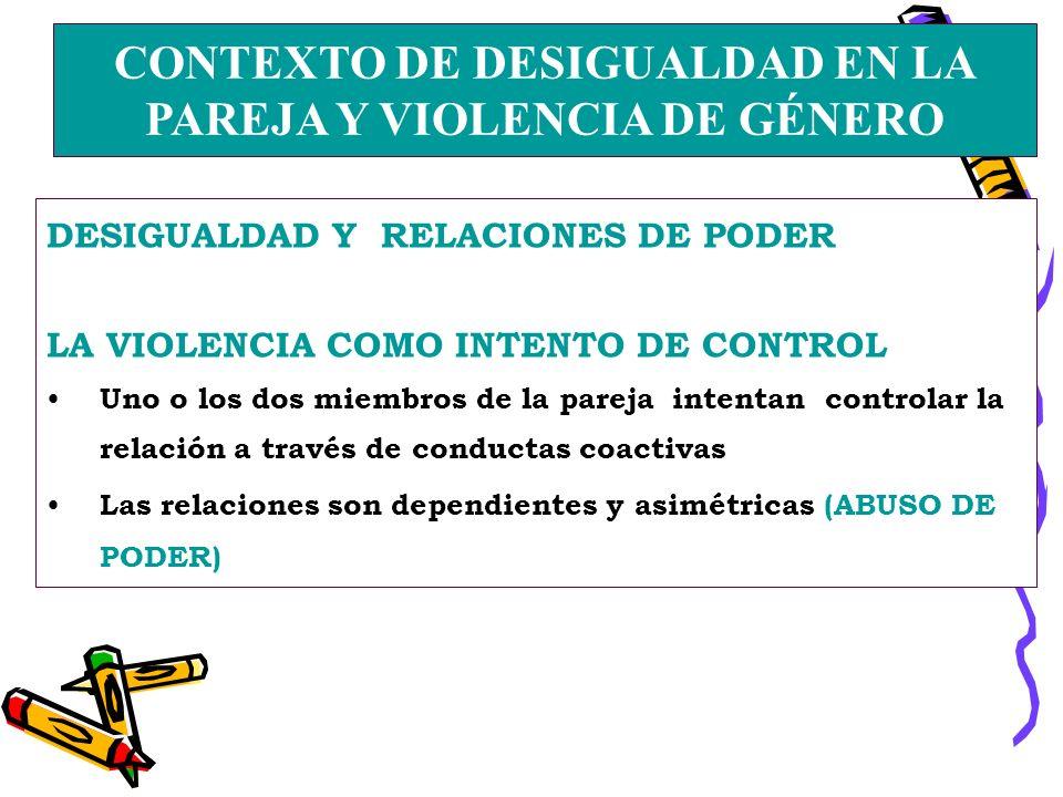 CONTEXTO DE DESIGUALDAD EN LA PAREJA Y VIOLENCIA DE GÉNERO