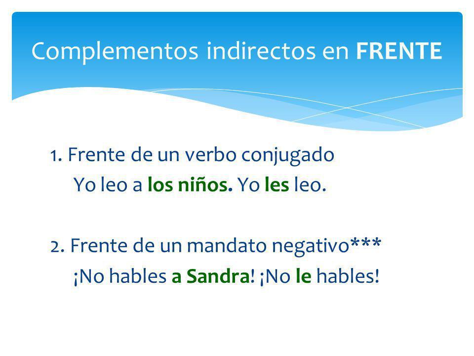 Complementos indirectos en FRENTE