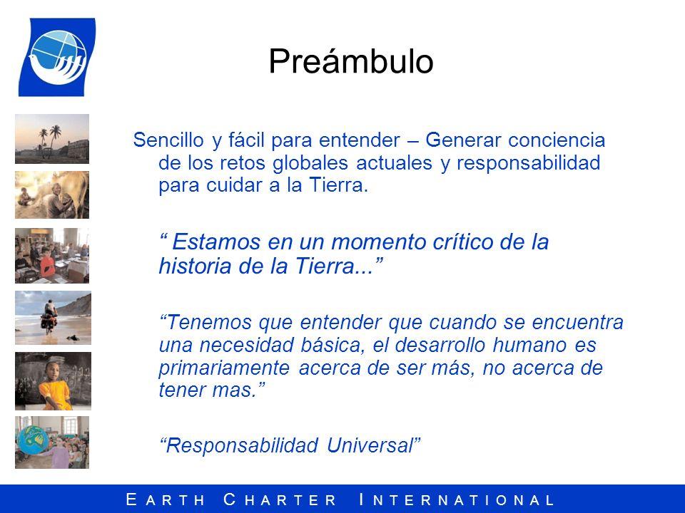 Preámbulo Sencillo y fácil para entender – Generar conciencia de los retos globales actuales y responsabilidad para cuidar a la Tierra.
