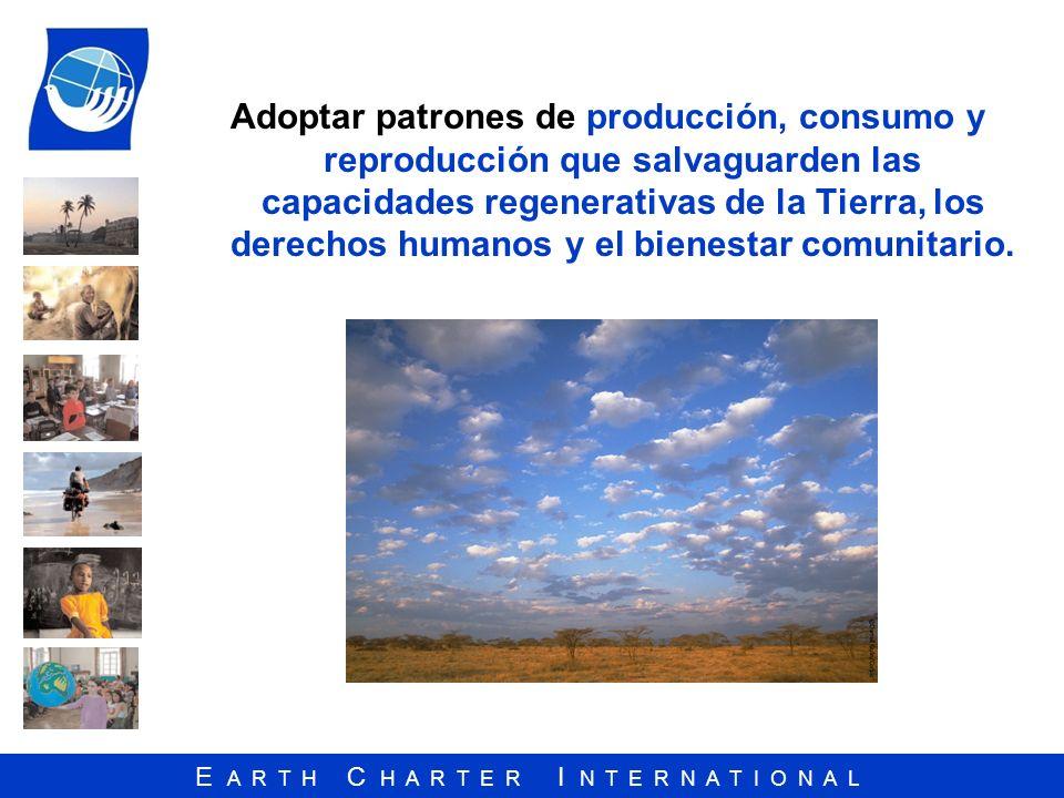 Adoptar patrones de producción, consumo y reproducción que salvaguarden las capacidades regenerativas de la Tierra, los derechos humanos y el bienestar comunitario.