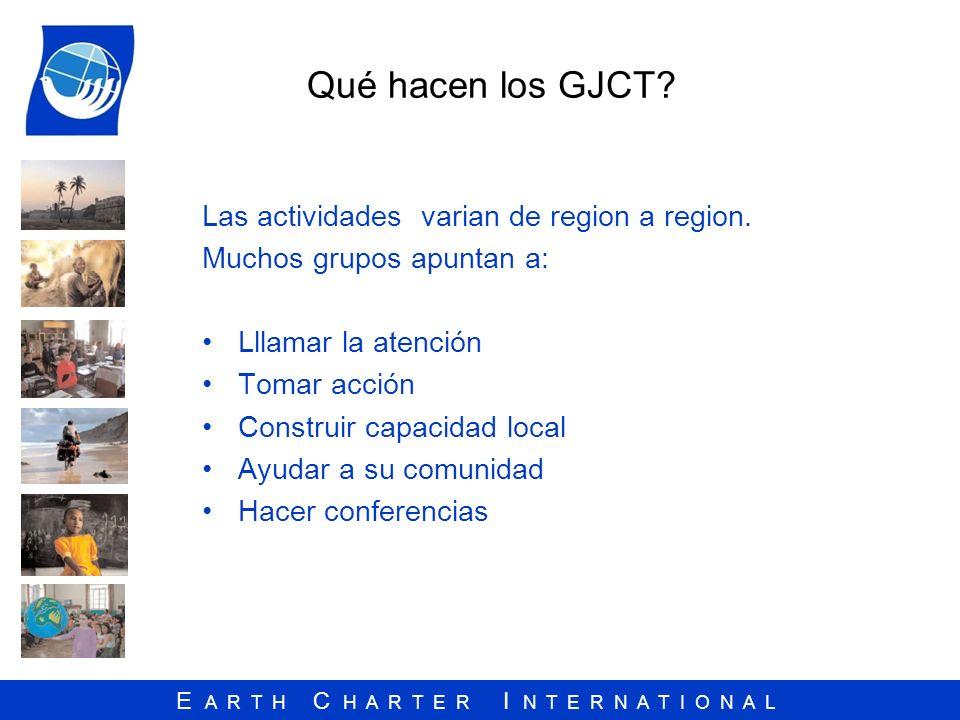 Qué hacen los GJCT Las actividades varian de region a region.