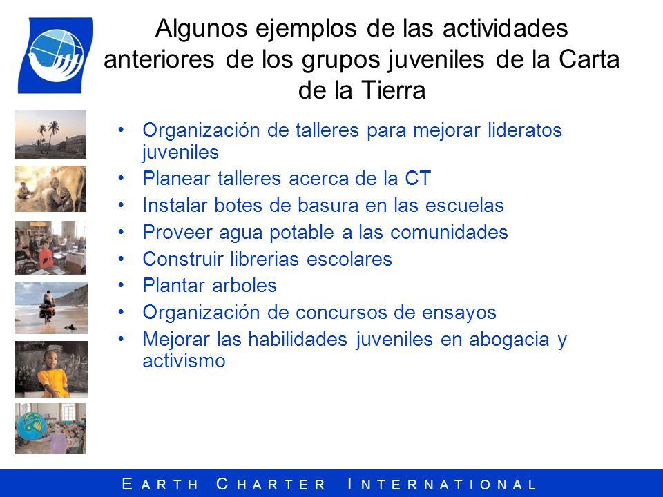 Algunos ejemplos de las actividades anteriores de los grupos juveniles de la Carta de la Tierra