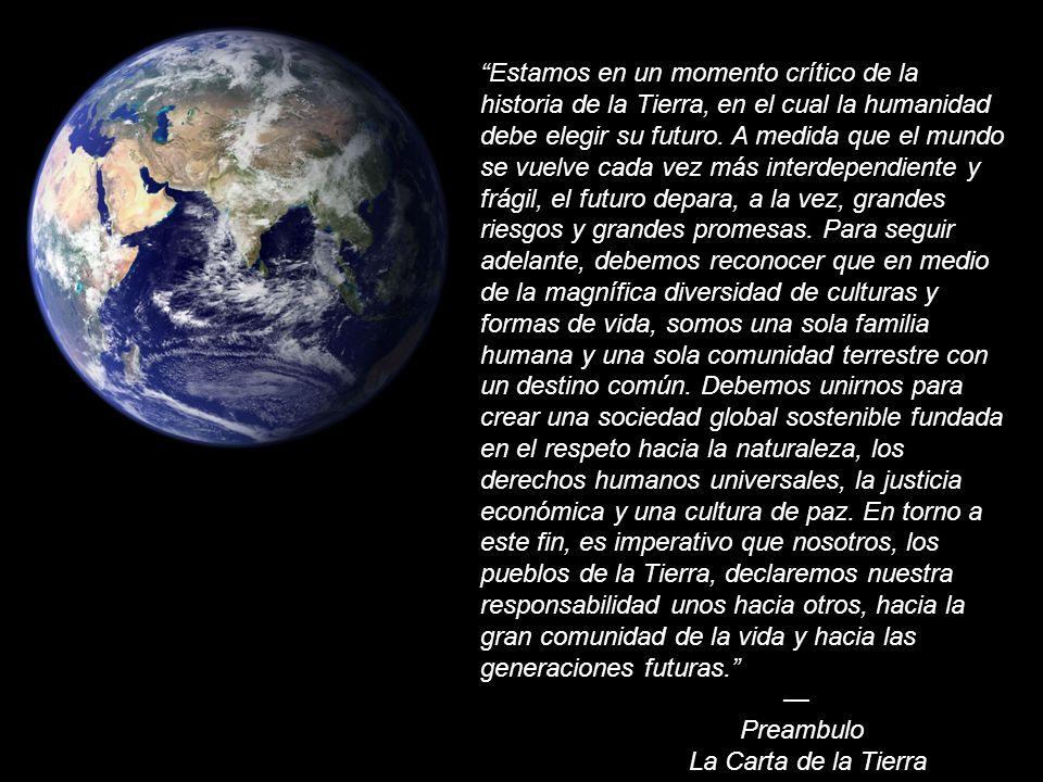 Estamos en un momento crítico de la historia de la Tierra, en el cual la humanidad debe elegir su futuro. A medida que el mundo se vuelve cada vez más interdependiente y frágil, el futuro depara, a la vez, grandes riesgos y grandes promesas. Para seguir adelante, debemos reconocer que en medio de la magnífica diversidad de culturas y formas de vida, somos una sola familia humana y una sola comunidad terrestre con un destino común. Debemos unirnos para crear una sociedad global sostenible fundada en el respeto hacia la naturaleza, los derechos humanos universales, la justicia económica y una cultura de paz. En torno a este fin, es imperativo que nosotros, los pueblos de la Tierra, declaremos nuestra responsabilidad unos hacia otros, hacia la gran comunidad de la vida y hacia las generaciones futuras.