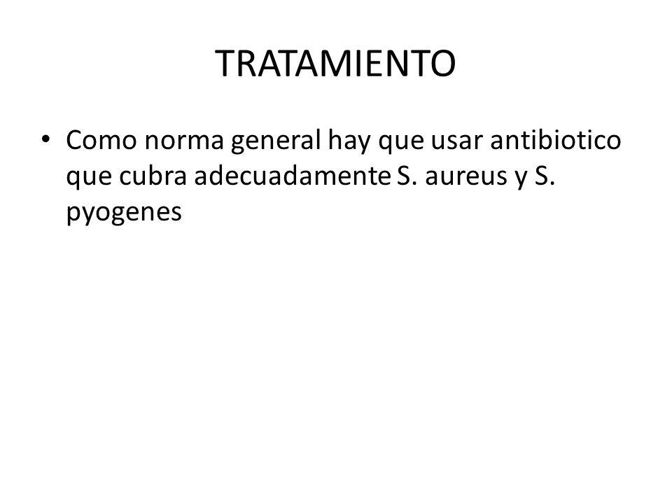 TRATAMIENTO Como norma general hay que usar antibiotico que cubra adecuadamente S.