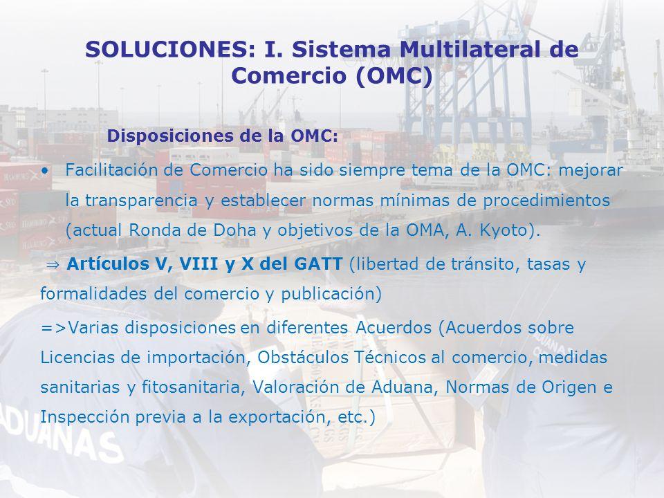 SOLUCIONES: I. Sistema Multilateral de Comercio (OMC)