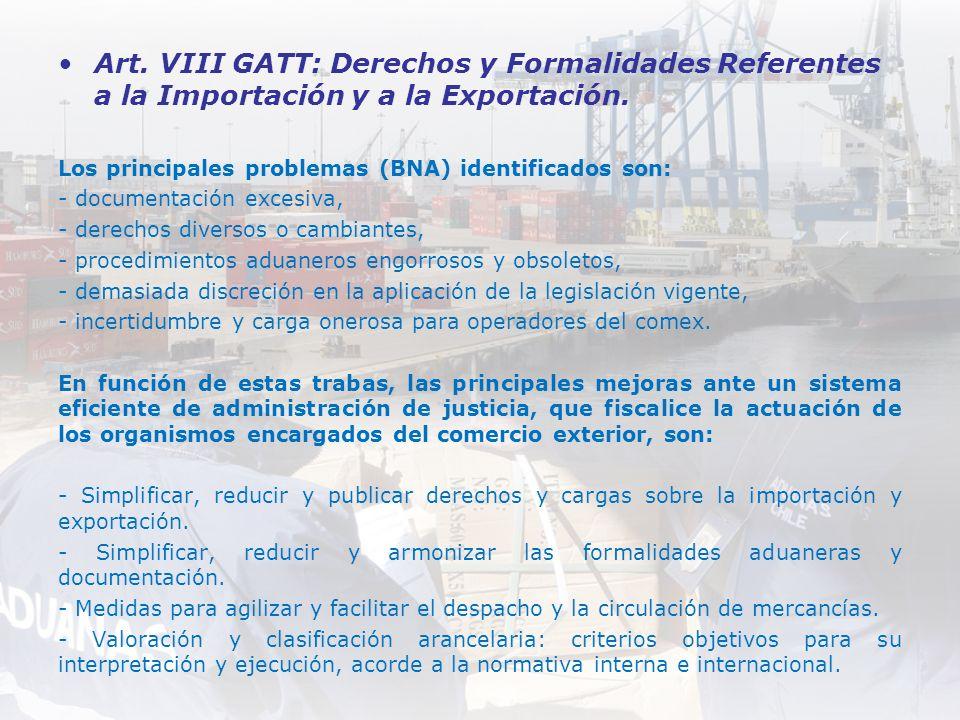 Art. VIII GATT: Derechos y Formalidades Referentes a la Importación y a la Exportación.
