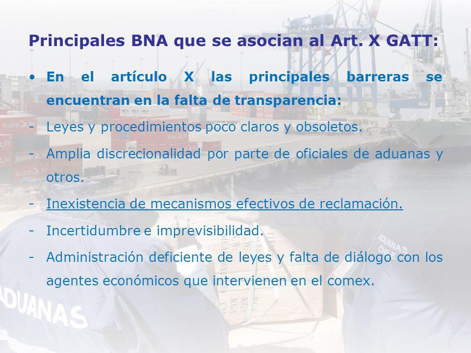 Principales BNA que se asocian al Art. X GATT: