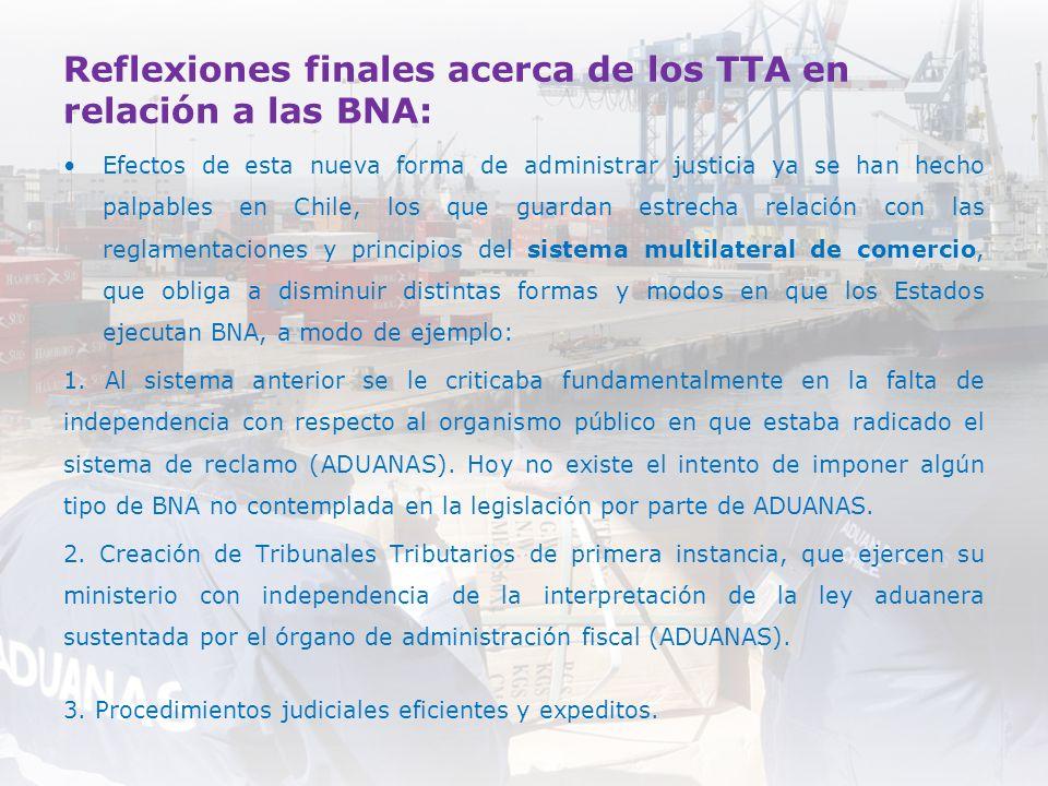 Reflexiones finales acerca de los TTA en relación a las BNA: