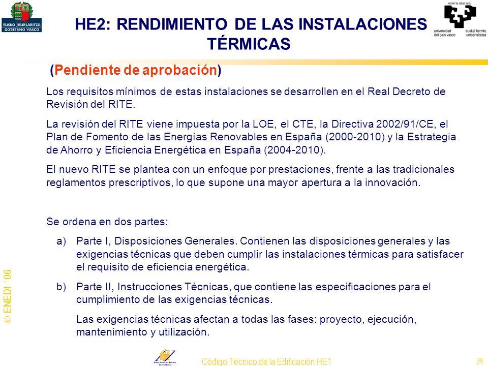 HE2: RENDIMIENTO DE LAS INSTALACIONES TÉRMICAS