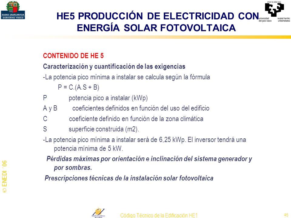 HE5 PRODUCCIÓN DE ELECTRICIDAD CON ENERGÍA SOLAR FOTOVOLTAICA