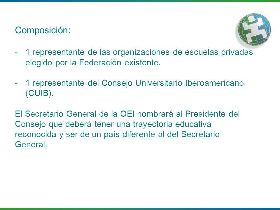 Composición: 1 representante de las organizaciones de escuelas privadas elegido por la Federación existente.