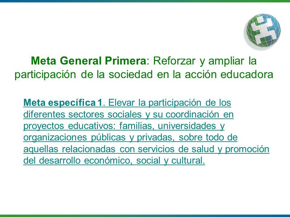 Meta General Primera: Reforzar y ampliar la participación de la sociedad en la acción educadora
