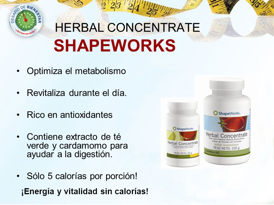 SHAPEWORKS HERBAL CONCENTRATE Optimiza el metabolismo