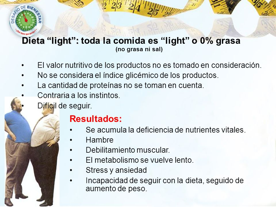 Dieta light : toda la comida es light o 0% grasa (no grasa ni sal)