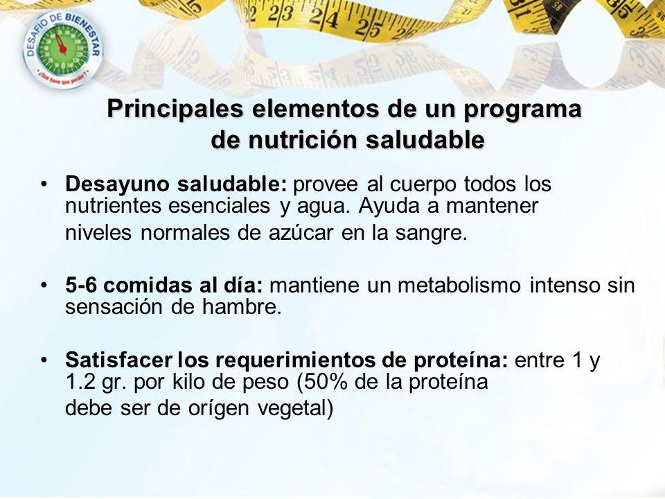 Principales elementos de un programa de nutrición saludable
