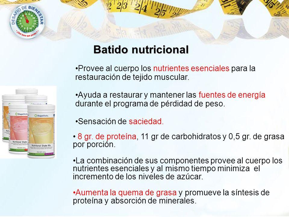 Batido nutricionalProvee al cuerpo los nutrientes esenciales para la restauración de tejido muscular.