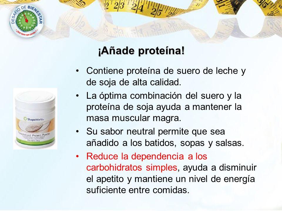 ¡Añade proteína!Contiene proteína de suero de leche y de soja de alta calidad.