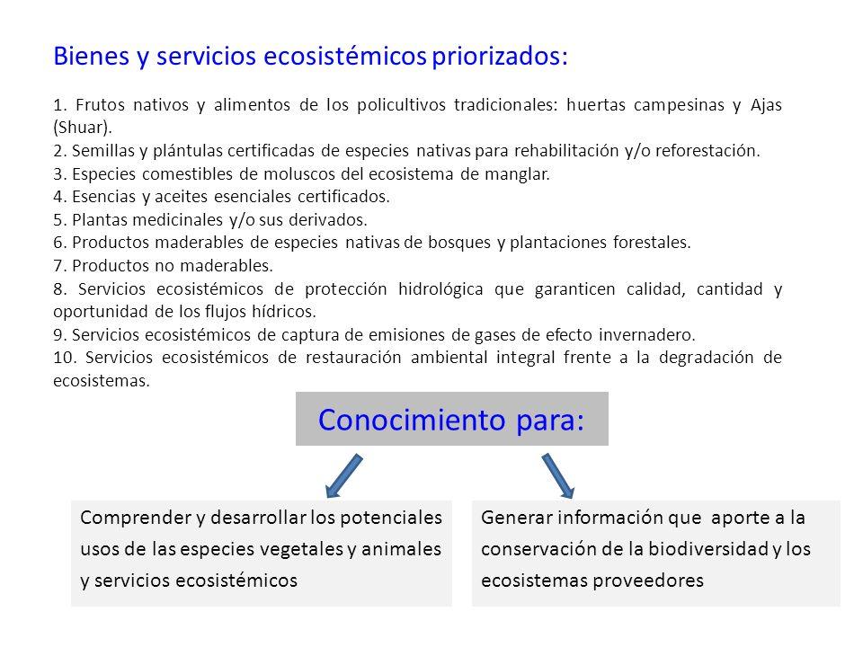 Conocimiento para: Bienes y servicios ecosistémicos priorizados: