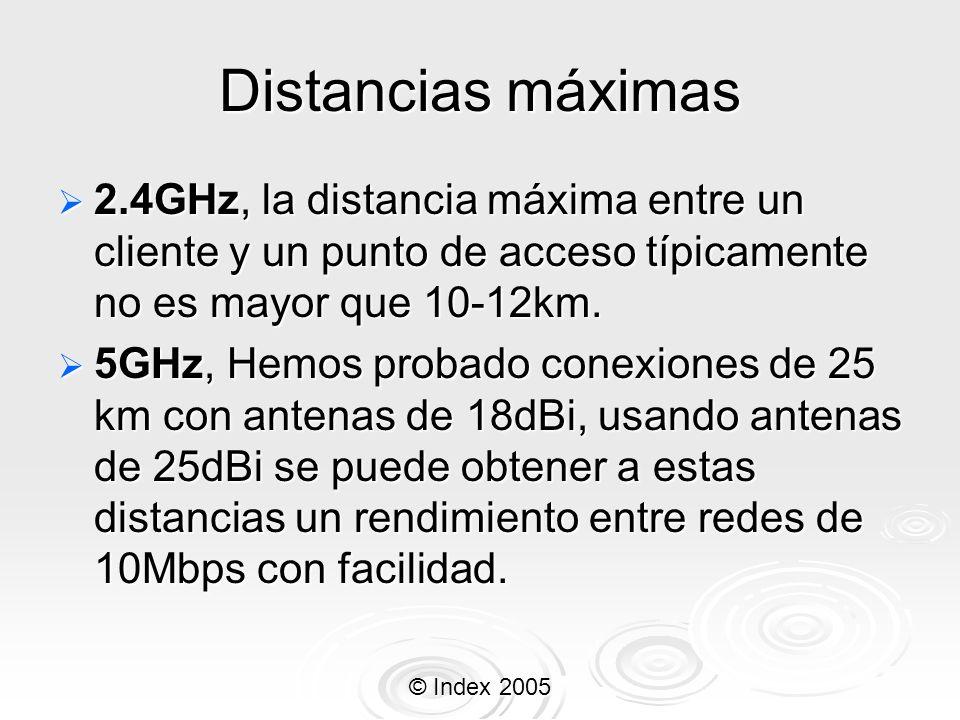 Distancias máximas 2.4GHz, la distancia máxima entre un cliente y un punto de acceso típicamente no es mayor que 10-12km.