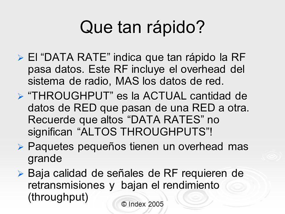 Que tan rápido El DATA RATE indica que tan rápido la RF pasa datos. Este RF incluye el overhead del sistema de radio, MAS los datos de red.