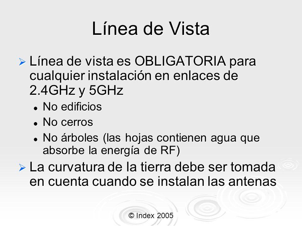 Línea de Vista Línea de vista es OBLIGATORIA para cualquier instalación en enlaces de 2.4GHz y 5GHz.