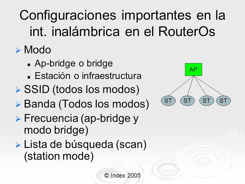 Configuraciones importantes en la int. inalámbrica en el RouterOs