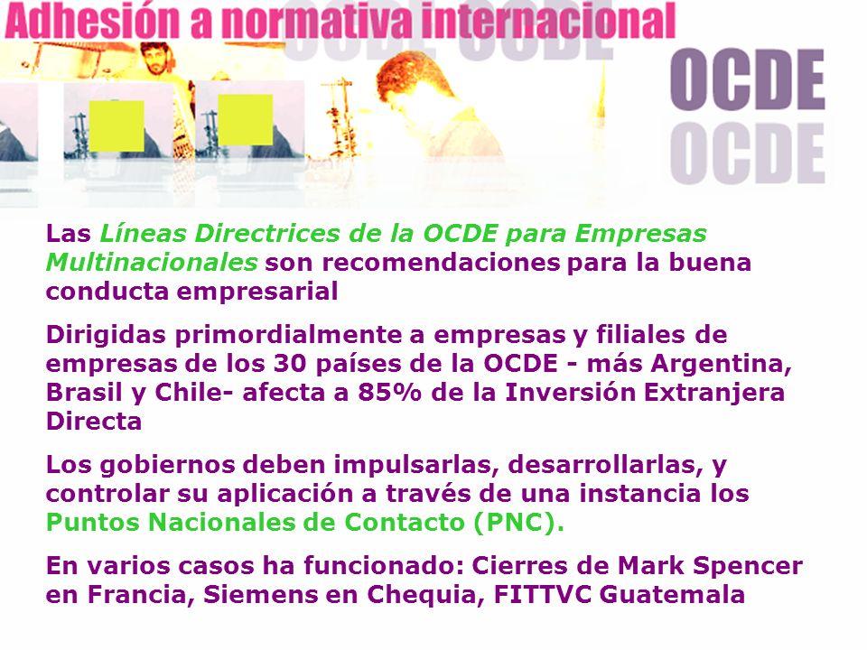 Las Líneas Directrices de la OCDE para Empresas Multinacionales son recomendaciones para la buena conducta empresarial