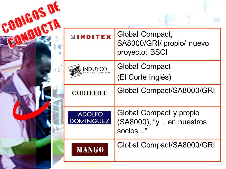 SA 8000 Global Compact, SA8000/GRI/ propio/ nuevo proyecto: BSCI