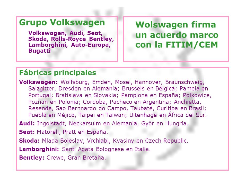 Wolswagen firma un acuerdo marco con la FITIM/CEM