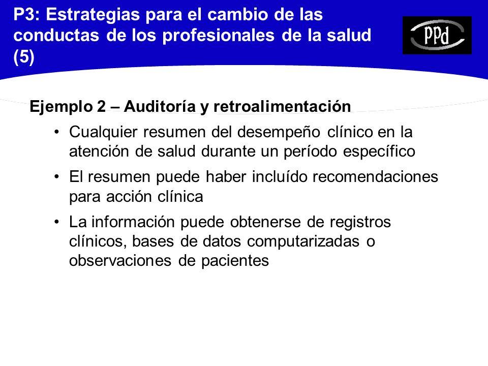P3: Estrategias para el cambio de las conductas de los profesionales de la salud (5)