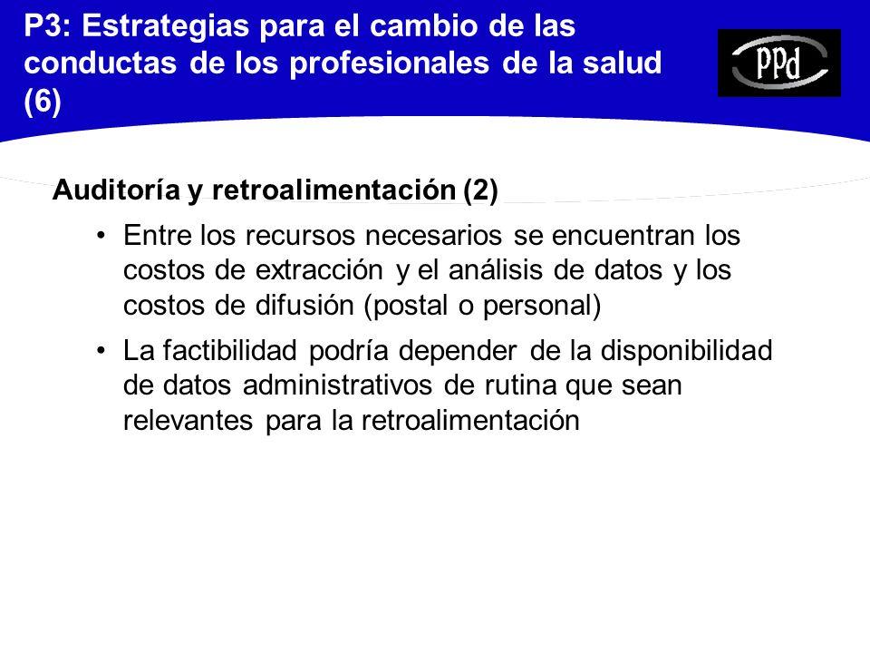P3: Estrategias para el cambio de las conductas de los profesionales de la salud (6)
