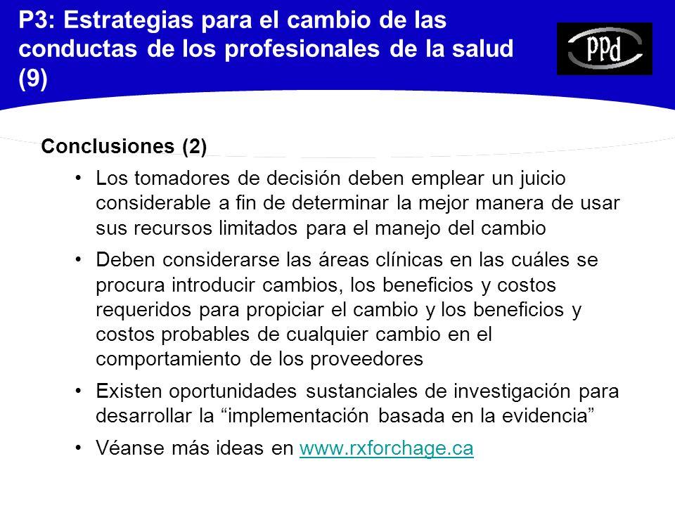 P3: Estrategias para el cambio de las conductas de los profesionales de la salud (9)