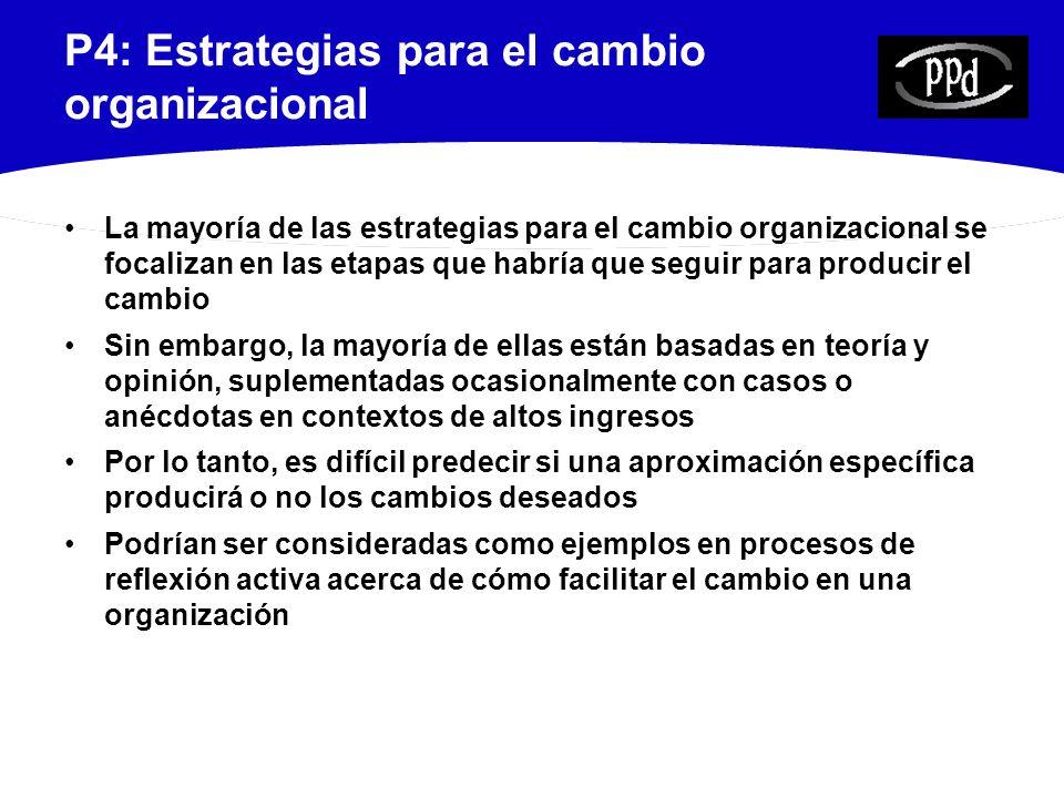 P4: Estrategias para el cambio organizacional