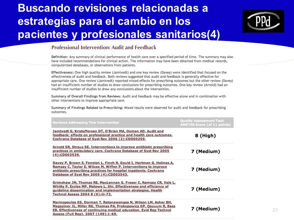 Buscando revisiones relacionadas a estrategias para el cambio en los pacientes y profesionales sanitarios(4)
