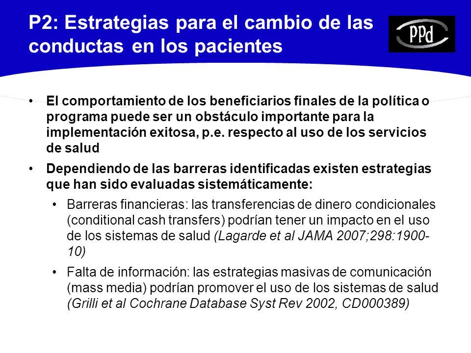 P2: Estrategias para el cambio de las conductas en los pacientes