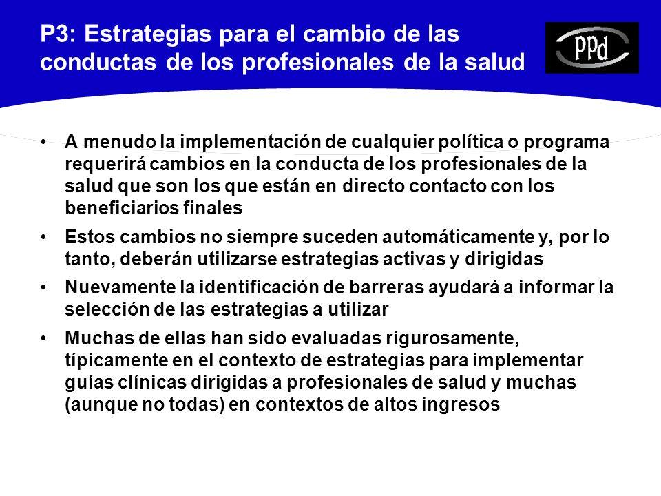 P3: Estrategias para el cambio de las conductas de los profesionales de la salud