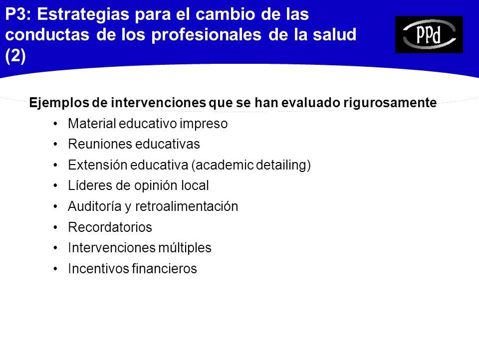 P3: Estrategias para el cambio de las conductas de los profesionales de la salud (2)