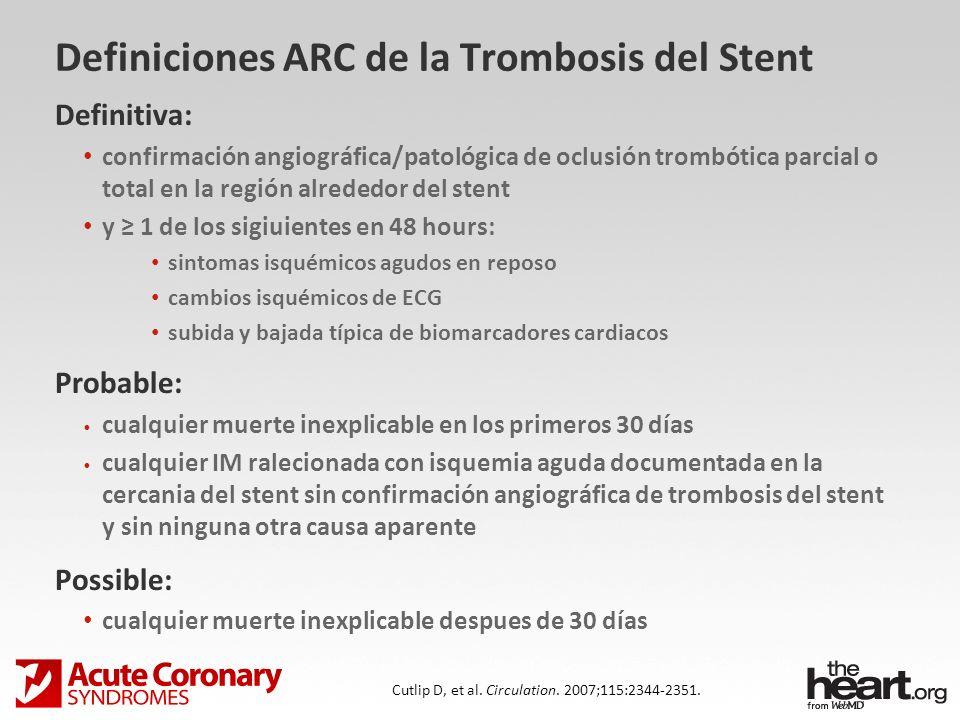 Definiciones ARC de la Trombosis del Stent