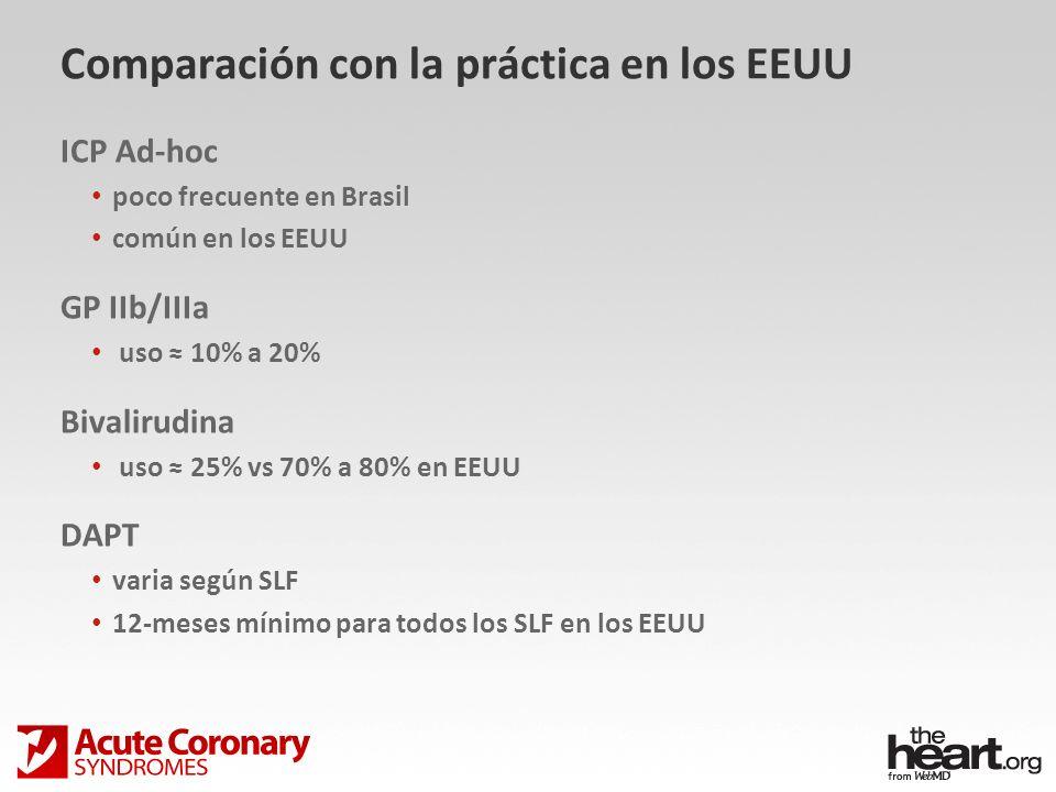 Comparación con la práctica en los EEUU