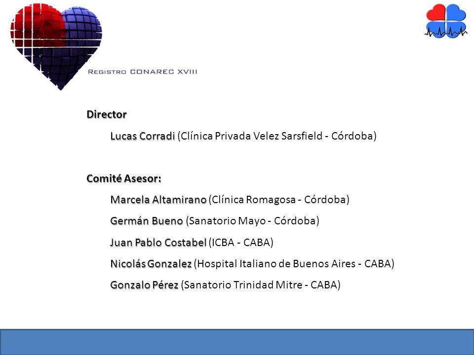 Director Lucas Corradi (Clínica Privada Velez Sarsfield - Córdoba) Comité Asesor: Marcela Altamirano (Clínica Romagosa - Córdoba)